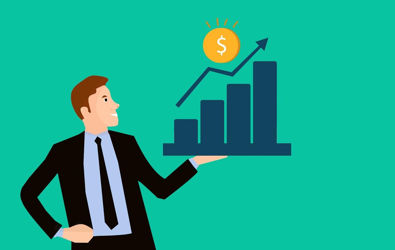 Cartoon of a business man holding a chart